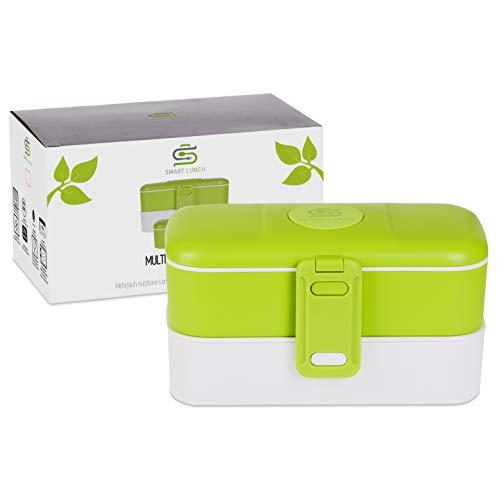 SMART LUNCH Bento Box   Auslaufsicher und Robust   Lunchbox in Grün 2 Schichten mit Besteck Mehreren Fächern und Bpa Frei Für Kinder und Erwachsene
