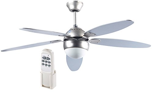 Sichler Ventilatoren: Großer Deckenventilator VT-997 m. Holzflügeln, Licht, Fernbed. Ø132 cm (Deckenventilator mit Beleuchtung)