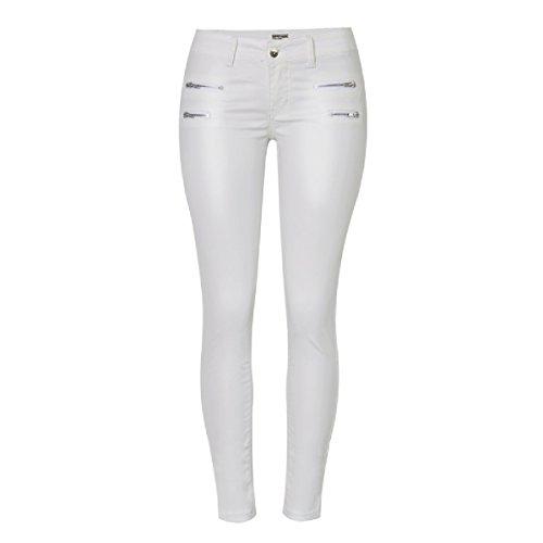 Frauen Stretch Slim Fit PU beschichtet Hosen Reißverschluss Leggins Weiß,White-34