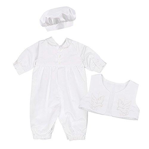 08beed0b8a049 IEFIEL 3 pcs Ensemble Costume de Baptême pour Bébé Fille Garçon Bodysuit Manches  Longues Romper Veste
