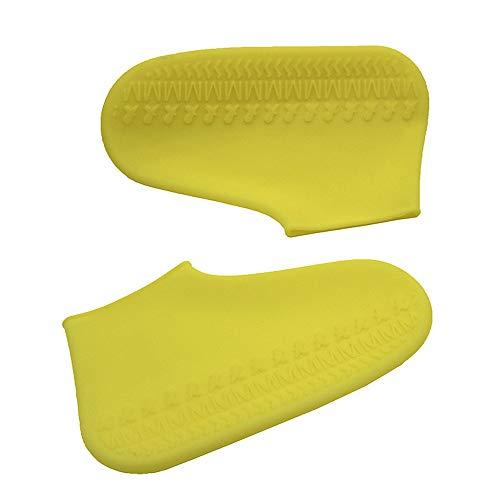 Nuoyi 2 Paar regenfeste Silikonüberschuhe Silikon-Regenstiefel Wiederverwendbare Rutschfeste Überschuhe Tragbare Dicke tragbare Leicht zu reinigen,Yellow,M -