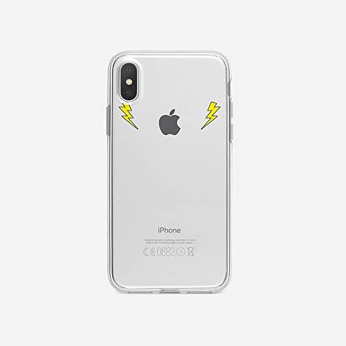 licaso Apple iPhone X Handyhülle Smartphone Apple Case aus TPU mit 2 Blitze Held Print Motiv Slim Design Transparent Cover Schutz Hülle Protector Soft Aufdruck Lustig Funny Druck