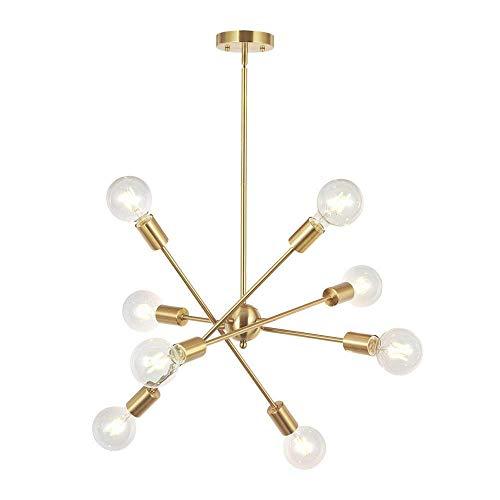 8-Lights Moderne Sputnik-Kronleuchter-Beleuchtung Mit Verstellbaren Armen Mitte des Jahrhunderts Pendant Light Vintage Industrial Hung Chandelier Einrichtung Moderne Lampe,Gold -