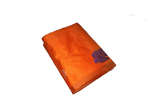 Sreenivasa Sarees Womens Tusser and Ikath Orange Color Hand Woven Saree