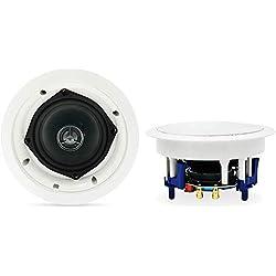 Herdio 5,25 Pouces Bluetooth Haut-parleurs de Plafond de Salle de Bains Blanc,(8 Ohms,300 Watts)