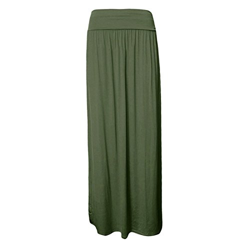 Momo&Ayat Fashions Ladies Fold Over Jersey Pleated Maxi Gypsy Skirt UK Size 8-26 (Khaki, 3XL (UK 24-26)) - Khaki Pleated Skirt