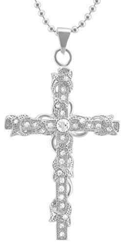 k zum Valentinstag Halskette in silber Versilbert Kreuz Jesus Strassstein Geschenk für die Frau / Freundin (Jesus-lieben Sie)