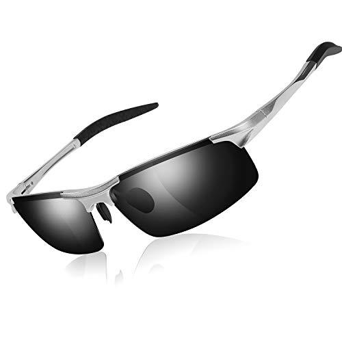 GVDV Sonnenbrille UV400 Schutz Polarisierte Sonnenbrille Fahrerbrille Rechteckige Al-Mg Metall Rahme Ultra Leicht, HD Nachtsicht, Blendung (Polarisierte Hd-sonnenbrille)