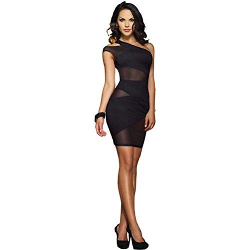 (V-Ting Damen Sexy Dessous Clubwear Party Minikleid Cocktailkleid Spitzenkleid Halb Schulter Kleider Weihnachts-Halloween-Karneval-Kostüm (L))