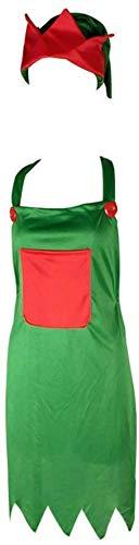 Delantal cocina Navidad Delantal elfo Conjunto sombreros