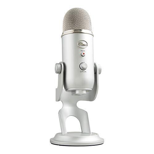 Blue Microphones Yeti, Micro USB pour Enregistrer et Diffuser sur PC et Mac, 3 Capsules Statiques, 4 Diagrammes Directionnels, Sortie Casque et Commandes de Volume - Argent