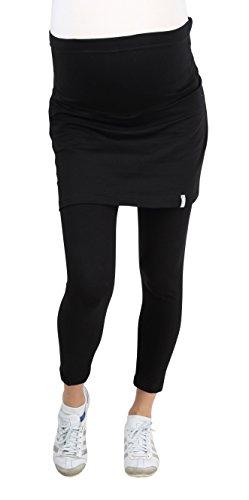 Be! Mama Umstandsleggings mit Rock, hochwertige Baumwolle, Modell PENTI - schwarz, lang, XL