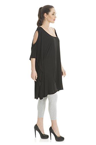 extravagante Damen Tunika, Designerstück Oberteil aus Edel Viskose, Casual/Freizeit - Plus Size auch in Übergröße Schwarz