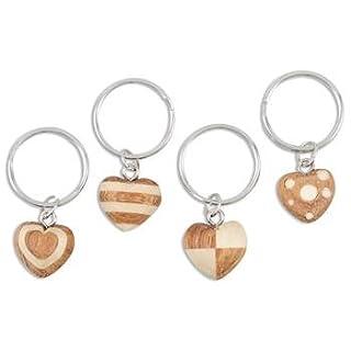 Anzm 4er Pack Schlüsselanhänger Miniherz aus Naturholz, Herz 1,8 cm, Gesamtlänge 5 cm (9519319247184)