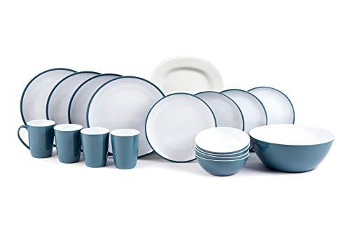 kmp Melamingeschirr-Set Kampa 2TON Campinggeschirr 4-Personen 18-teilig mit Salatschüssel und Servierplatte in versch.Farben (Dusk-Blue)
