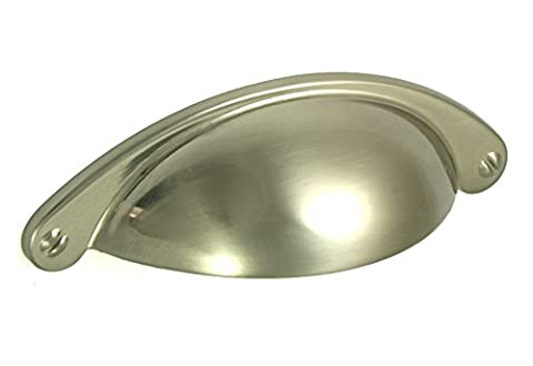 10 x Brushed Nickel Shaker Style Cup Handle. Kitchen or Cupboard Handles