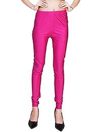 Comix Women Cotton Lycra Fabric Comfort Fit Ankle Length Plain Leggings (Hot Pink,XXXL)