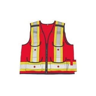 Viking Men's All-trades 1000d Surveyor Safety Vest, Red, 4XL