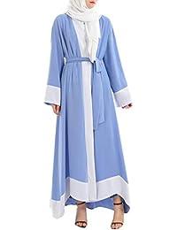Enosiegoiw Bloque de Color Cardigan Abierto Longitud del Piso Dobladillo Irregular Cordones para Mujer Batas
