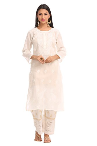 Lucknow Chikankari Handcrafted Women's Cotton Kurta Kurti Regular Wear by ADA A144355