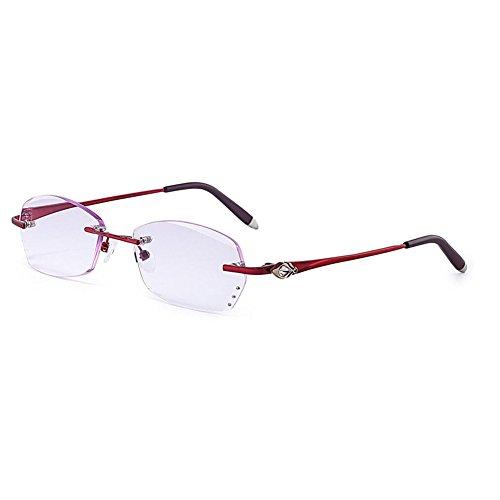 Hzjundasi Lesebrille Damen Randlose Brille Hoch Klar lila Objektiv-Leser Presbyopische Brillen -