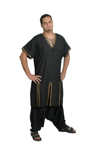 Egypt Bazar Zweiteiliges Salwar-Kameez-Set im Pakistani-Stil, Größe: XL, schwarz - Stil Kaftan