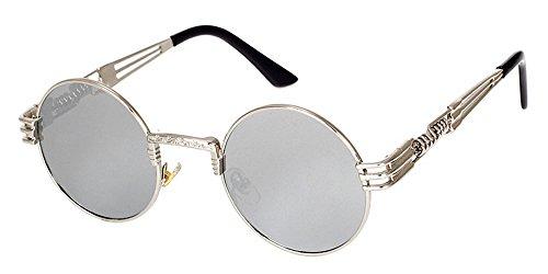 3cc2e131f0 BOZEVON Retro Steampunk Style Inspired Round Metal Circle Sunglasses for  Women & Men
