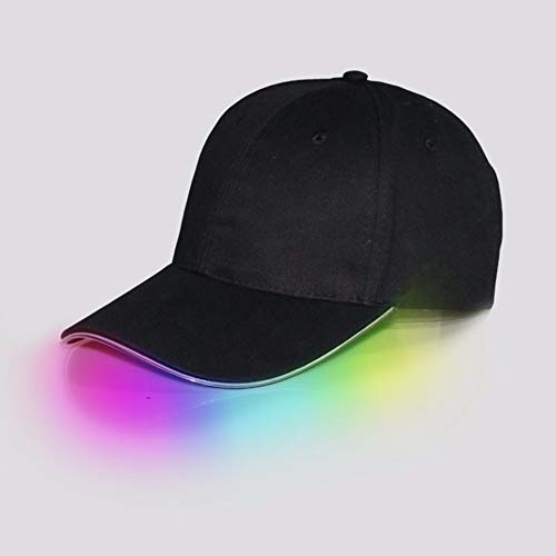 XIAOYANG Leuchtende Kappe führte belichtete japanische Baseball-Mütze-Reisewerbungsfaser-reflektierendes Licht, schwarzer Hut-Bunte Steigung (Japanische Baseball-hüte)