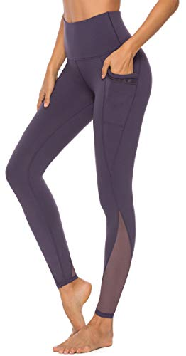 Persit Yoga Leggings Damen, Sporthose Yogahose Sport Leggins Tights für Damen Violett-M