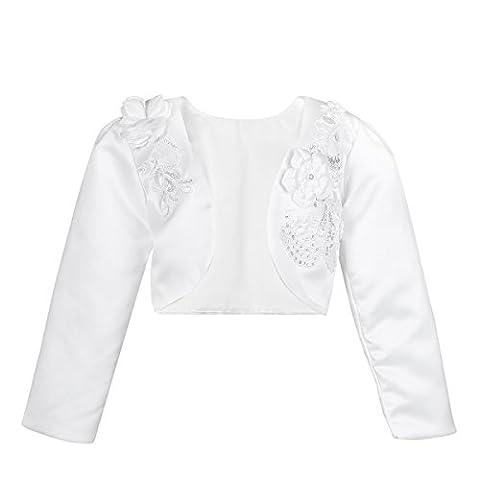 IINIIM Boléro Bébé Enfant Fille Manche Longue en Satin Fleur 3D Cardigan Veste Mariage Baptême Communion Ivoire Beige Rose Taille 9 Mois-10 Ans (3-4 Ans, Blanc)