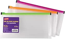 Staples 1 Poly Zip Envelopes, Check Size, Each