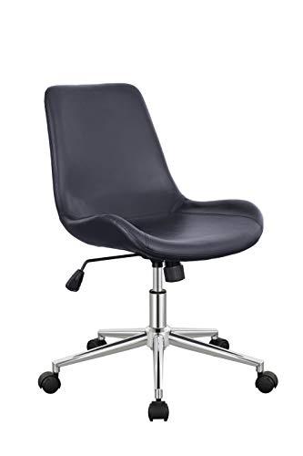Duhome Bürostuhl Kunstleder Schwarz Drehstuhl Schreibtischstuhl Wippfunktion ergonomisch Retro Design Farbauswahl 8017C