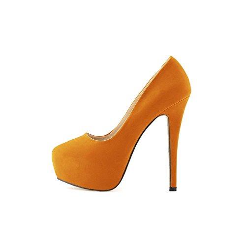 OCHENTA Femme Escarpins En Velvet Talon Haut Aiguille Plateforme Epais Marcher Confortable Chaussure Soiree Mariage Orange