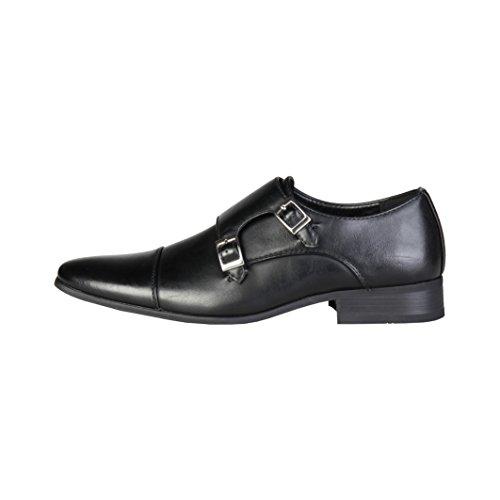 Pierre Cardin Hombre M9002 Negro Cuero Zapatos De Correa De Monje 10.5 UK