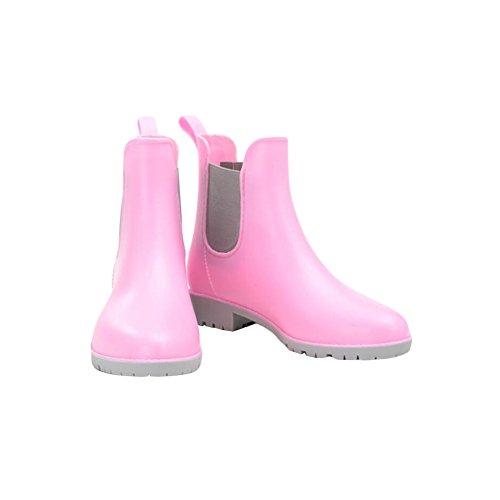 Meijunter Femmes Casual Elastic Martin Rainboots Bottes de pluie Imperméable Caoutchouc Rain Shoes Ankle Boots Chaussures nautiques pink