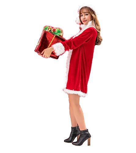 (DUBAOBAO Weihnachten Damenkostüm Weißer Plüsch roter Weihnachtsjacke Rock + Hut, Weihnachtsfest Performance Kostüm Weihnachtskostüm, geeignet für Höhe 160-170 cm)