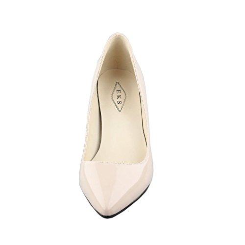 EKS Damen Pointed Toe Sexy Thin Low Heel Dress Pumps Shoes Apricot-Lack