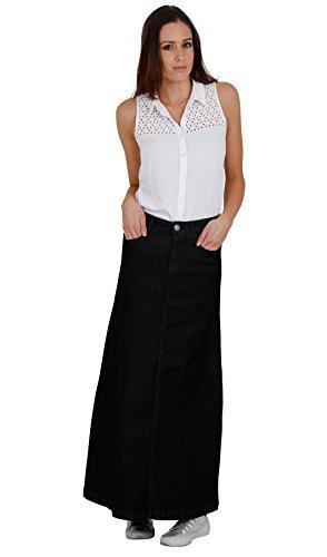 Langer Jeansrock schwarz - Damen Modischer Jeansröcke Denim Damenrock (59) (Rock Jeans Langer)