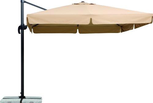 Schneider Sonnenschirm Rhodos, natur, 300x300 cm quadratisch, Gestell Aluminium/Stahl, Bespannung Polyester, 23.3 kg
