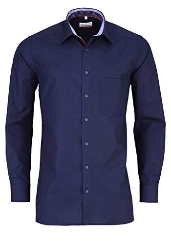 Marvelis Modern Fit Hemd Langarm New Kent Kragen mit Besatz Nachtblau Größe 42 -