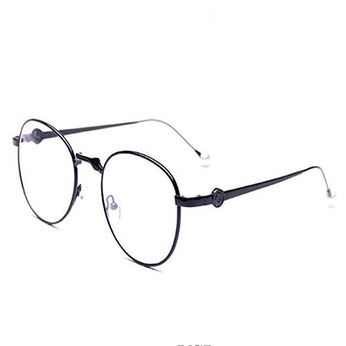 Shiduoli Schwarze runde Brille mit klaren Gläsern Unisex stilvolle Brille ohne Rezept (Color : Black)