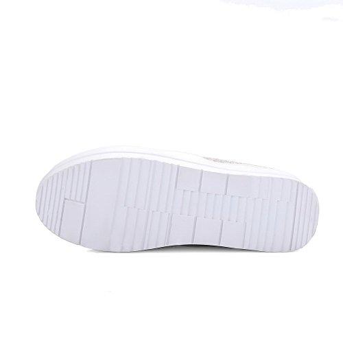 AllhqFashion Femme à Talon Correct Couleur Unie Tire Matière Souple Rond Chaussures Légeres Noir