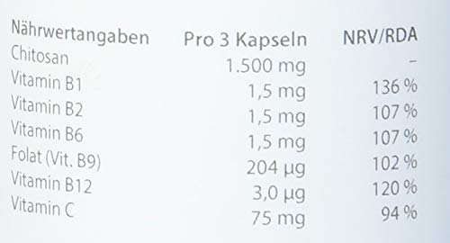 dr.reinwald ChitoCLEAN colon – Chitosan-Ballaststoff – Bessere Stoffwechselverfügbarkeit & Bindung von unerwünschten Stoffen – Folat, Vitamin-B-Komplex & Vitamin C – 90