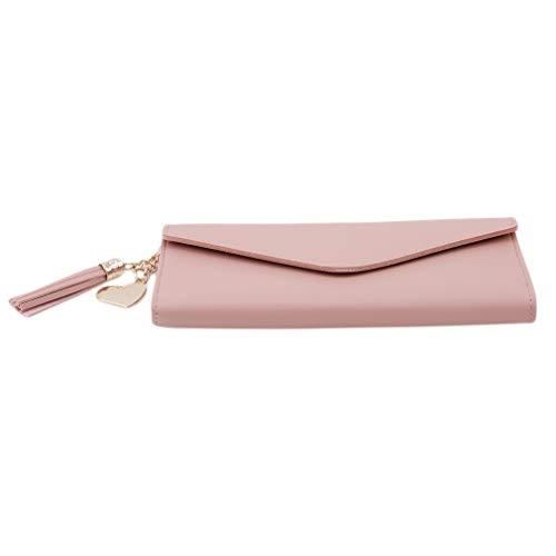 MOONRING Litschi Muster Lange Brieftasche Herz Leder Quaste Anhänger Taste Große Kapazität PU Folding Multi-Funktion Brieftasche, Rosa -