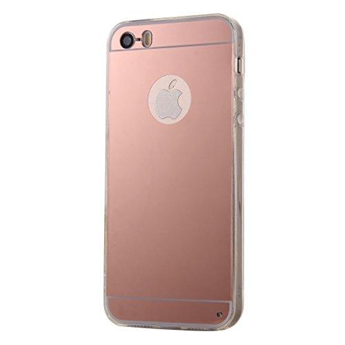 Wkae Case Cover Galvanik Spiegel TPU Schutzhülle für das iPhone 5 ( Color : Pink ) Pink