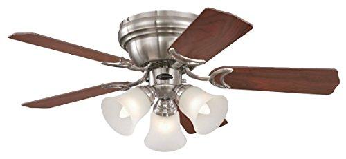 Westinghouse Contempra Ventilador de Techo E27, 37 W, Níquel Satinado