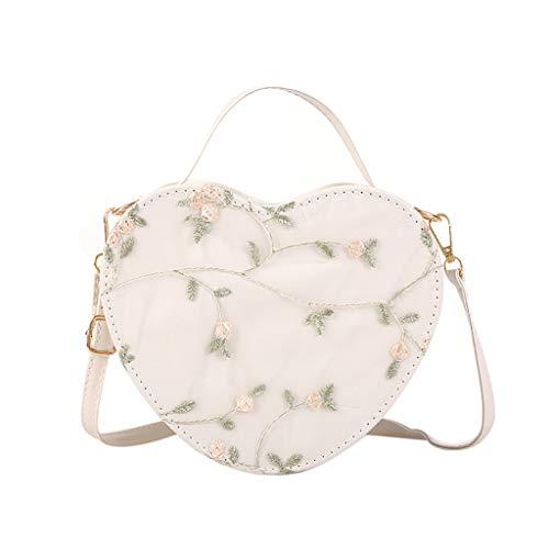 LILIHOT Herzförmige Wilde Messenger Bag Umhängetasche Mode Handtasche Kleine Damentasche Umhängetasche Citytasche Schultertasche Handtasche Elegant Retro Vintage Tasche Kette Band