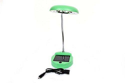 FreshGadgetz 1 Set di Lampada con 8 LED Verde o viola da scrivania per la lettura, flessibile con carica solare e cavo USB. (Verde)