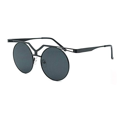 WULE-Sunglasses Unisex Persönlichkeit Steampunk Brille Unisex UV400 Schutz Black Frame Round Frame Vintage Sonnenbrille (Farbe : Black)