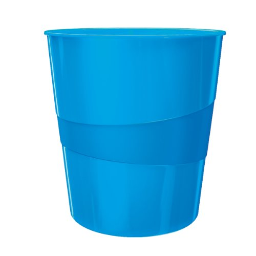 Leitz Papierkorb, 15 Liter, Kunststoff, Blau Metallic, WOW, 52781036